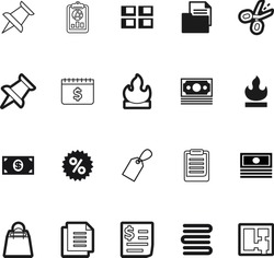 paper vector icon set such as: stamp, ideas, hold, choice, plan, accounting, apartment, investment, template, test, text, purchase, education, geometric, income, wage, scissors, report, sell, blank