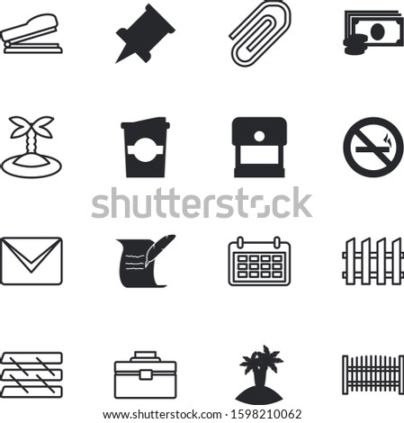 paper vector icon set such as: supplies, torah, handy, instrument, meeting, spiral, espresso, metal, fresh, filter, app, coffee, time, refreshment, caffeine, pin, pile, attached, banknote, year