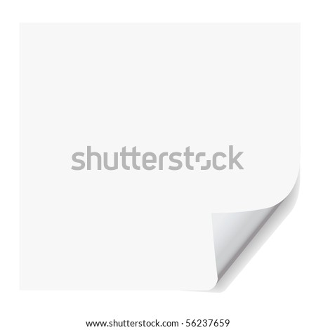 paper vector with corner curl effect, realistic looking.