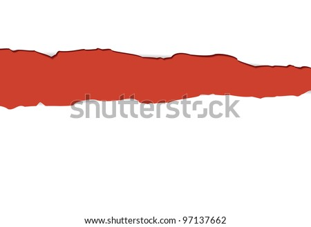Paper with a torn strip on a red background is shown in the picture.