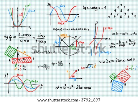 Paper with colored mathematics formula and sketches - vector illustration