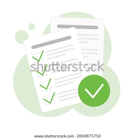 Paper with correct answers. Test list. Plan or checklist. Correct tasks with a green tick. Isolated vector illustration.  Foto stock ©