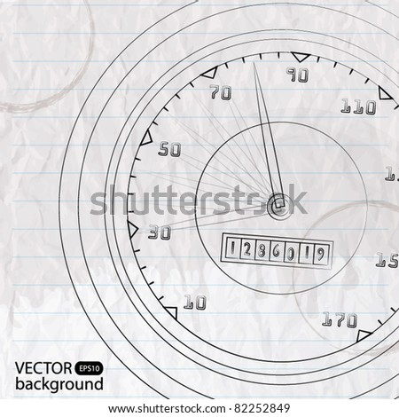 Paper with sketch of tachometer