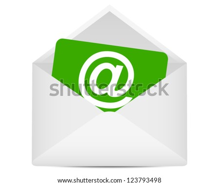 paper with the symbol of an open e-mail in an envelope