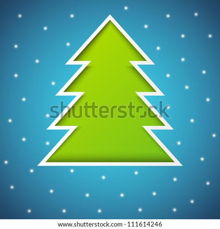 Paper Xmas tree on blue