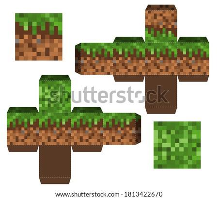papercraft mini dirt block