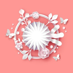 Papercut flower bouquet illustration with empty copy space frame on isolated pink background. Spring season 3d paper craft template includes butterfly, nature plants and blooming flowers.