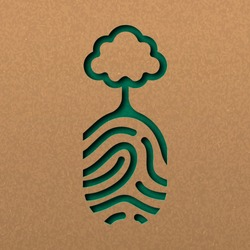 Papercut human finger print with tree. Green fingerprint cutout concept in recycled paper for nature connection.