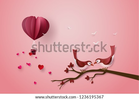 papercut with love Birds perched on a branch of a tree. illustration of Valentine day