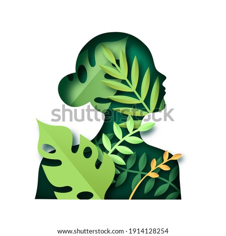 Papercut woman silhouette shape with green plant leaf and nature decoration. Realistic 3d paper craft cutout for health concept or eco friendly design on isolated background.