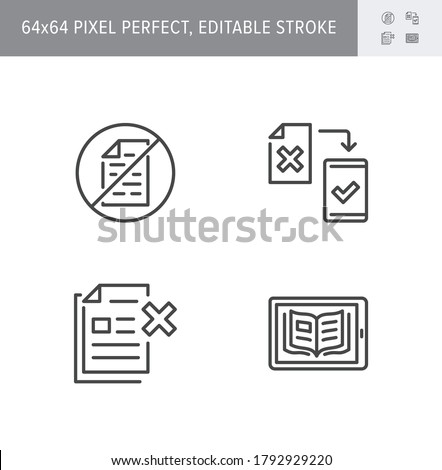 Paperless line icons. Vector illustration included icon as less paperwork, digital office, bureaucracy outline pictogram of electronic document management. 64x64 Pixel Perfect Editable Stroke. Stock photo ©