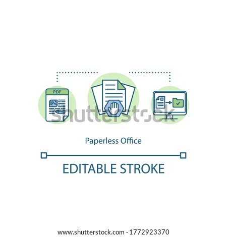Paperless office concept icon. Reduce waste in organization. Paper free company. Digitize work environment idea thin line illustration. Vector isolated outline RGB color drawing. Editable stroke