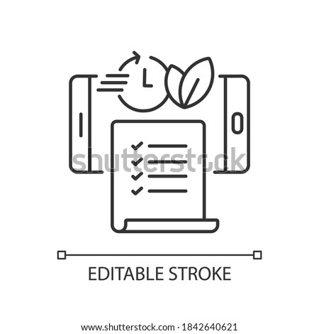 Paperless statements linear icon. Electronic bill. Online document on smartphone screen. Thin line customizable illustration. Contour symbol. Vector isolated outline drawing. Editable stroke Foto stock ©