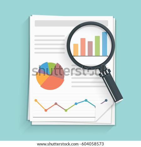 Papers with business report and magnifying glass, vector eps10 illustration