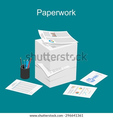 paperwork illustration stack