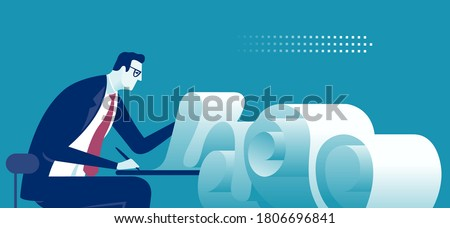 Paperwork. Manager and long check list. A metaphor for endless work. Business vector illustration