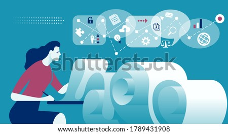 Paperwork. Woman and long check list. A metaphor for endless work. Business vector illustration