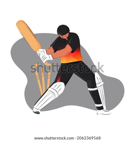 Papua New Guinea Cricket Batter Losing His Wicket On Gray And White Background.