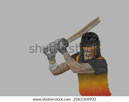 Papua New Guinea Cricket Batter Player In Line Pattern On Gray Background.