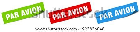 par avion paper peeler sign set. par avion sticker Foto stock ©