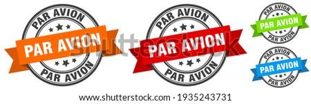 par avion stamp. par avion round band sign set. Label Foto stock ©