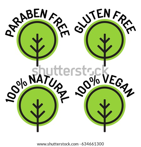 Paraben free, gluten free, 100% natural, 100% vegan. Set of badges, logos, icons. Flat vector illustration on white background. Can be used business company.