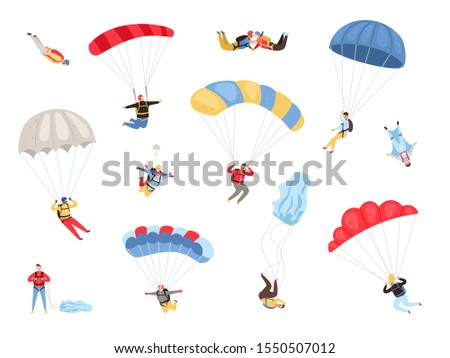 Parachute skydivers. Paraglide and parachute jumping characters on white, paragliders and parachutists vector illustration, skydiver hobby and sport activities Stock fotó ©