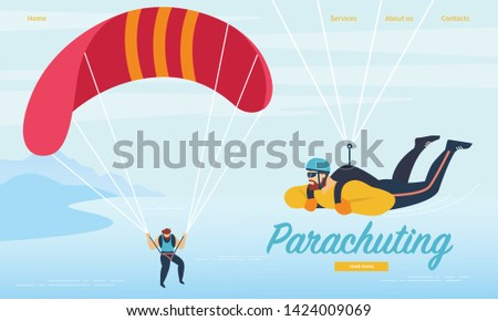 Parachuting, Skydiving Sports Activity. Sportsmen Floating in Sky with Parachutes on Seascape and Mountains View Background. Hobby, Leisure, Extreme Sport, Cartoon Flat Vector Illustration, Banner