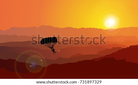 parachuting  sunset