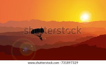 parachuting  sunset
