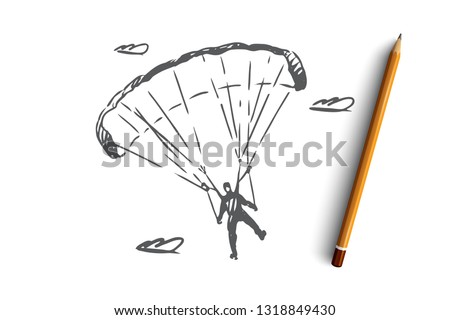 Parachutist, extreme, skydiving, sport, fly concept. Hand drawn parachutist on a sports parachute concept sketch. Isolated vector illustration.