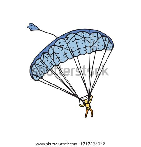 parachutist gliding through the