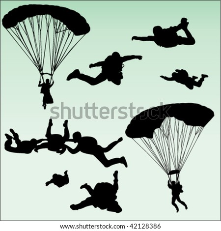 parachutists silhouette