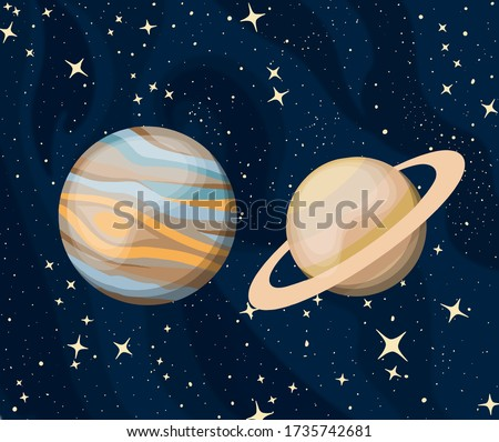 parade of planets Jupiter and Saturn. great conjunction of 2020 december Photo stock ©