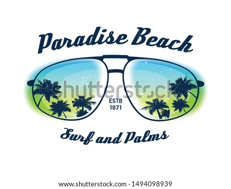 Paradise beach. Element for your design. Vector background. Vector illustration.