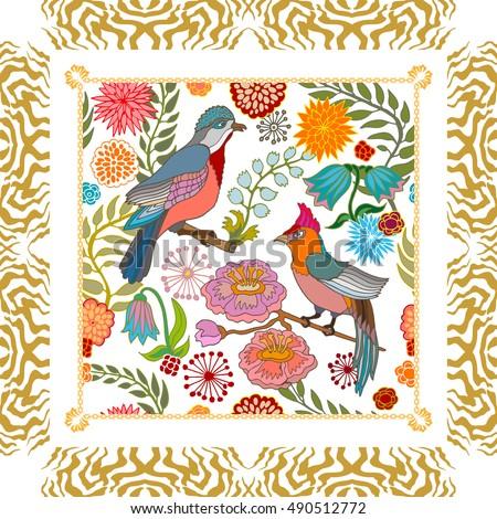 paradise garden silk scarf