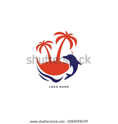 Paradise island for travel, hotel and vacation logo vector. With swimming dolphin silhouette in the sea design illustration. Holiday villa and resort house or villa rental. Simple modern style