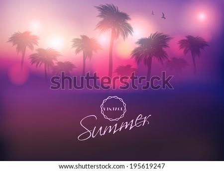 paradise island palm tree sunset