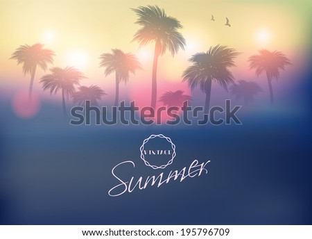 paradise island palm tree sunset