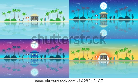 paradise island with bungalows