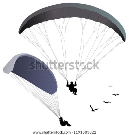 paraglider hovers over the