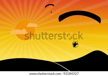 Paragliders at sunset. Vector illustration.