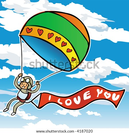 paragliders in a bue sky with love