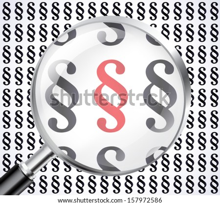 paragraph symbol in magnifying glass / vector eps 10