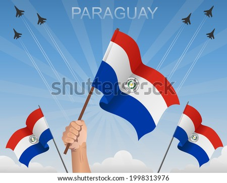 Paraguay flags fluttering under the blue sky Stockfoto ©