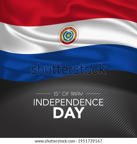 Paraguay happy independence day greeting card, banner, vector illustration. Paraguayan memorial holiday 15th of May  design element with realistic flag with stripes, square format Foto d'archivio ©