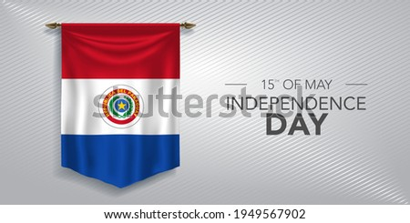 Paraguay independence day greeting card, banner, vector illustration. Paraguayan national day 15th of May background with pennant Foto d'archivio ©