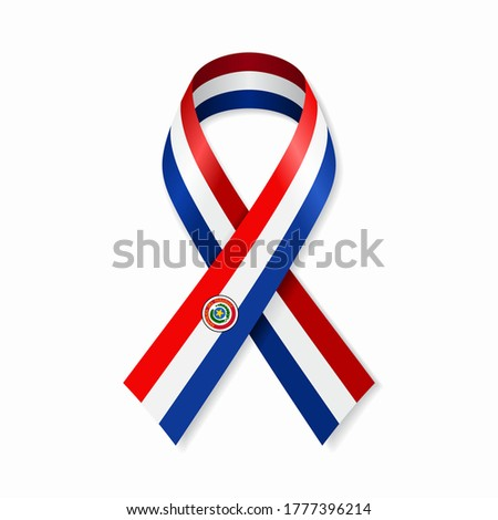 Paraguayan flag stripe ribbon on white background. Vector illustration. Foto d'archivio ©
