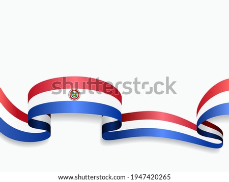 Paraguayan flag wavy abstract background. Vector illustration. Foto d'archivio ©