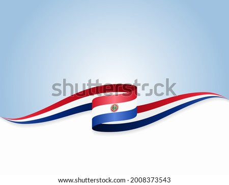 Paraguayan flag wavy abstract background. Vector illustration. Stockfoto ©